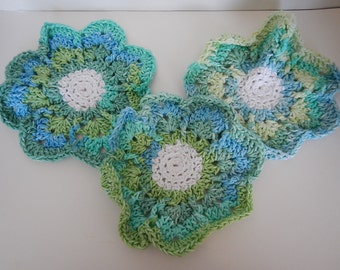 Dish Cloths - Set of 1 or 7 - Flowers! - 100% Cotton - Hand Crocheted - Rainbow Blues and Greens - Kitchen Gear - Wash Cloth - Housewarming