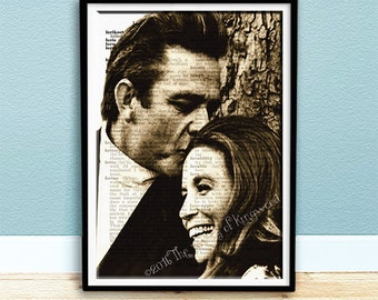 Johnny & June Carter Cash - Collectable Keepsake - Dictionary Page Art - Valentine Gift Idea - Johnny Cash - June Carter Cash - Wall Hanging