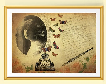 Gift for Writers, Victorian Art, French Print, Vintage Art, Collage Art, Victorian Decor, Vintage Decor, Vintage Portrait, Butterflies