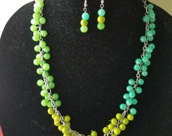 Ombre necklace and earrings