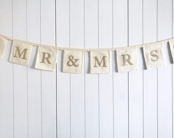 Mr & Mrs Wedding Bunting - Gold Glitter Wedding Banner - Cotton Wedding Bunting - Wedding Reception Decor - Personalised Wedding Bunting