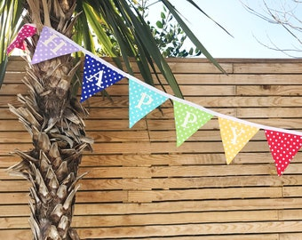 Reversible Rainbow Birthday Banner - White Glitter - Birthday Bunting - Party Banner - Birthday Flags - Child Party Decorations