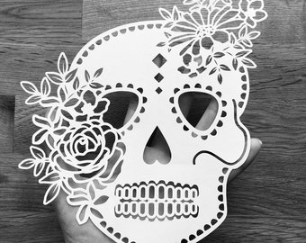 Skull template etsy svg floral sugar skull design papercutting template to print and cut yourself commercial pronofoot35fo Gallery