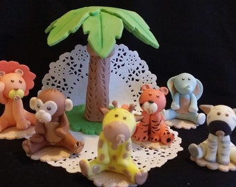 Jungle Cake Topper, Jungle Baby Shower, Safari Baby Shower, Safari Cake Topper, Zoo Cake Topper, Baby Animal Cake Topper, Neutral Jungle Set