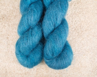 Silky Mohair Lace - Hand Dyed Yarn - Lace Weight - 50 grams - 420m/459yards - Alpine Lake
