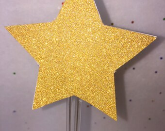 Cupcake Toppers-Gold Glitter Star Topper- 12 - Limited Supply