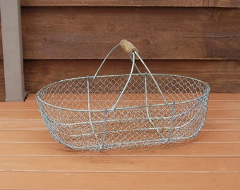 French Oyster Basket, Antique Oyster Basket, Large Gathering Basket, Wire Harvest Basket, Wide Basket
