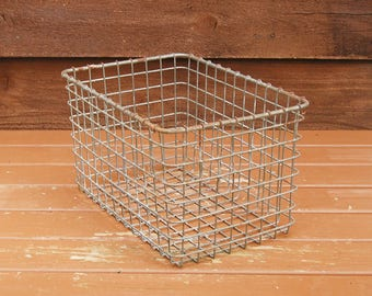 Locker Basket, Industrial Wire Basket, Vintage Locker Basket, Storage Basket