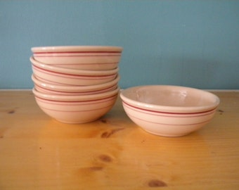 Lot of 5 Buffalo China Bowls - Restaurant Ware - Cafe Diner - Tan with Red Stripes