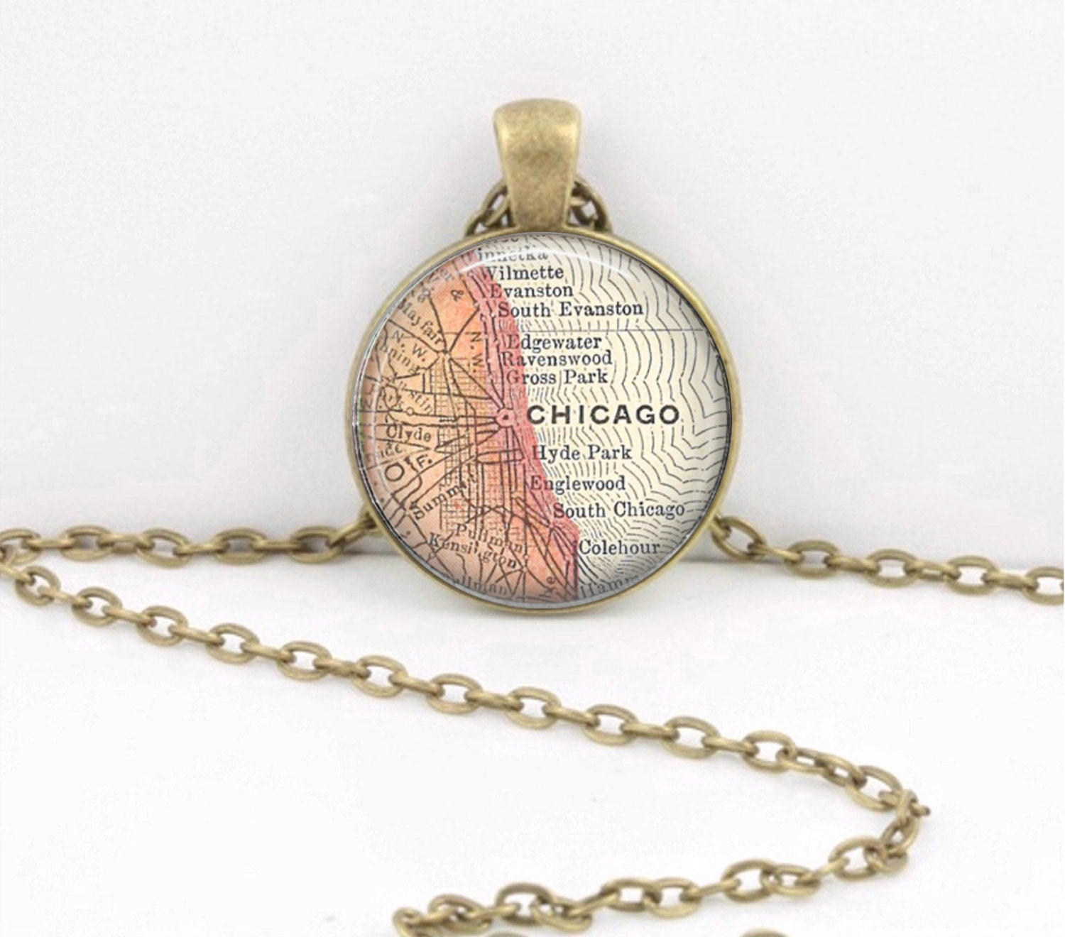 Chicago Illinois Vintage Map Geography Gift Pendant Necklace Or - Chicago map ring