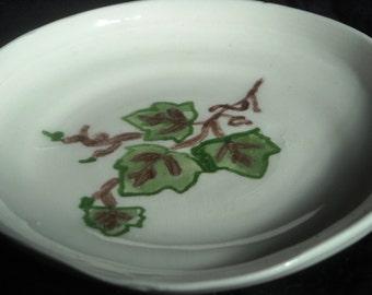 Grape Leaves Spoon Rest - Wheel Thrown
