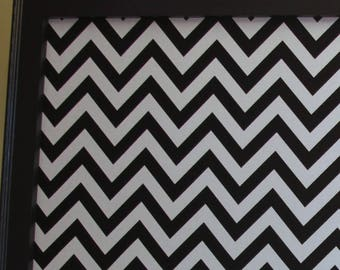 "Framed Fabric Magnet Board - Magnetic Bulletin Board Memo Board 24""x48"" Black Frame, Black and white chevron Fabric Message board Wedding"