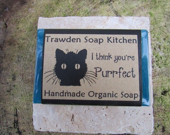Cruelty Free Organic Soap, Cat Lover, Valentines Gift, I think you're purrfect, five aromatherapy blends, Peppermint Soap, Glycerine based