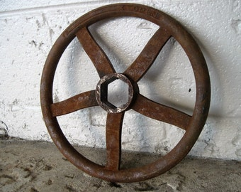 "LARGE 12"" Industrial Vintage Rusty Handle Steampunk Wall Art Machine Cog Gear"
