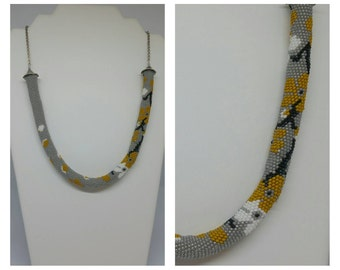 """Gray cherry"" necklace, beads crochet"