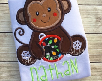 Christmas Sitting Monkey Ornament Holiday Top Shirt Tshirt Bodysuit First Christmas Monogrammed Santa Picture outfit