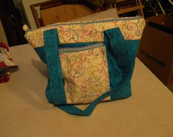 Blue purse with accents and 6 inner pockets