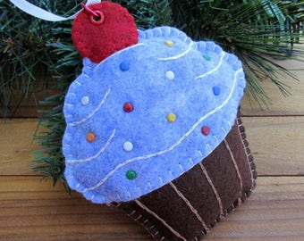 Wool Felt Large Sapphire Cupcake Ornament Hanger