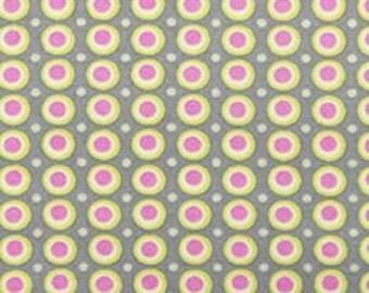 Half Yard - Happy Dots Grey, Midwest Modern, Amy Butler, quilting cotton, Rowen Fabrics, Quilting Cotton, Pink, Grey, Cream, Mustard Yellow