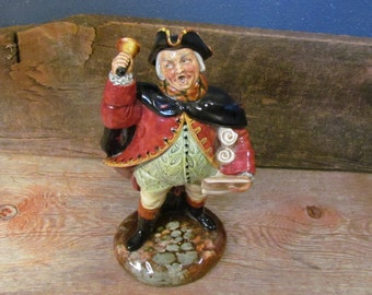 Vintage 1950's Royal Doulton 'Town Crier' Figurine, English Porcelain, Peggy Davies