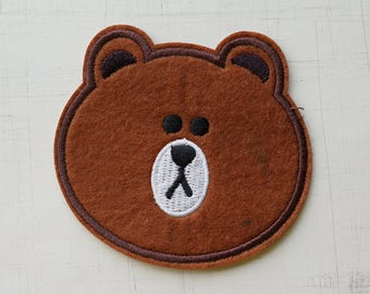 7.2 x 8cm, Brown Bear Iron On Patch