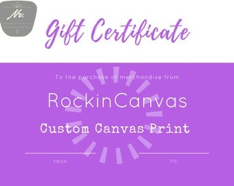 GIFT CERTIFICATE for any custom canvas print. RockinCanvas, Christmas Gift idea, Wedding gift certificate, First dance lyrics canvas print