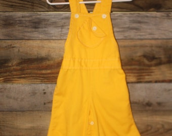 bell bottom vintage yellow overalls | size 18 months | sideways pocket | mustard yellow | flair bottom pants