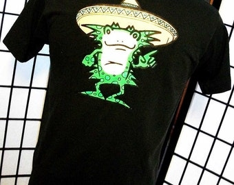 Taqueria Una Mas Festival Frog in a Sombrero 50/50 black tee shirt by Fruit of the Loom large l