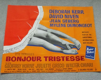 Vintage Original 1958 Bonjour Tristesse Film  Movie Poster UK Quad Columbia Release David Niven Deborah Kerr Mylene Demongeot Rare Poster