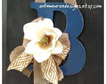 Monogram letter, monogram with flower, monogram door hanger, hydrangea monogram wreath, Front door wreath, burlap letter wreath