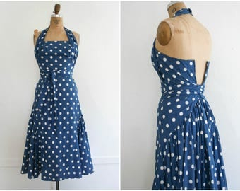1940s | Vintage 40s Royal Blue and White Polka Dot Halter Dress | Size XS-S