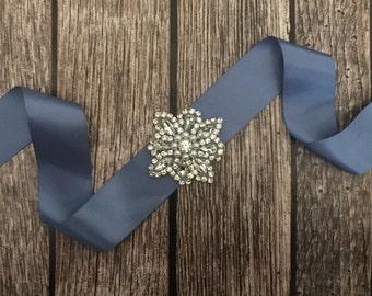 Blue sash, Flower girl sash, childrens sash, wedding sash, rhinestone sash, dress sash