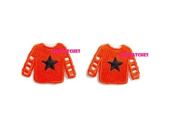 Sweater Iron On Patch Cute Patches Set 2pcs. Orange Sweater Black Star New Sew / Iron On Patch Embroidered Applique Size 3.6cm.x2.7cm.