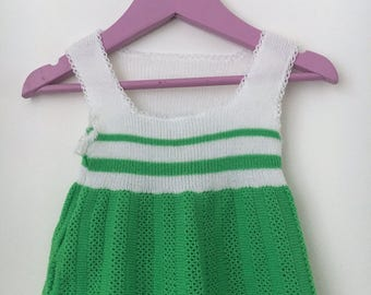 Green White knitted vintage top, tunic
