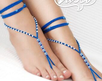 Crochet Barefoot Sandals Beach Yoga Shoes Beaded Foot Jewelry Navy Blue