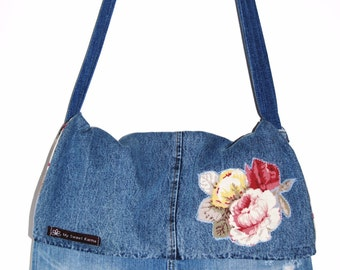 My Sweet Karma upcycled denim messenger bag purse