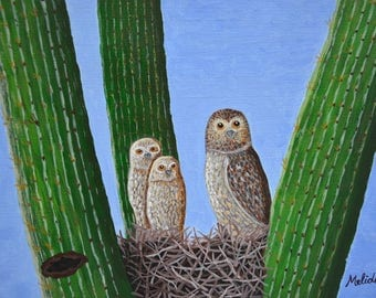 Owls in Cactus, Owls Family, Owl Original Painting, Wildlife Painting, Art, Gift Idea, For Her, For Him, 9x12 in, Mother's Day, SALE