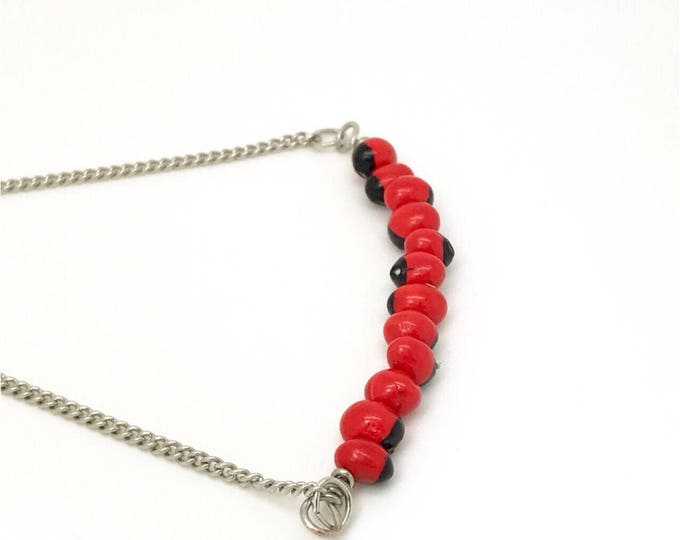 Huayruro necklace, red seed necklace, good lock necklace, huayruro choker, huayruro jewelry, hippie style
