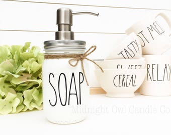 Rae Dunn Inspired Soap Dispenser, Mason Jar Soap Dispenser, Farmhouse Kitchen, Farmhouse Soap Dispenser, Rae Dunn Decor, Farmhouse Decor