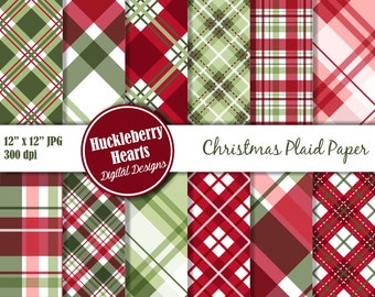 Christmas Plaid Digital Paper, Christmas Papers, Digital Plaid Paper, Printable, Commercial Use