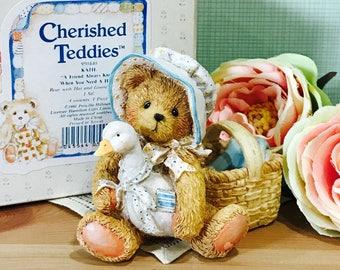 "Vintage 1991 Cherished Teddies KATIE ""A Friend Always Know When You Need a Hug"" Teddy Bear"