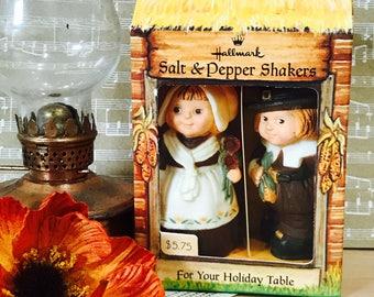Vintage 1970s Thanksgiving Hallmark Salt and Pepper Shakers in Box Pilgrim Boy and Girl