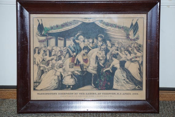 1840s E.C. Kellogg Hand Colored Litho Washington's Reception by the Ladies Framed