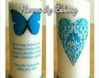 Memory candles, tribute candles, Memorial candles,Wedding candle butterfly,Funeral candles, 20cm-Can be personalised with any wording/colour