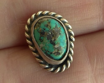 Vintage 925 Sterling Silver Turquoise Men's Tie Tack, Handmade Southwestern Silver Natural Stone Rope Design