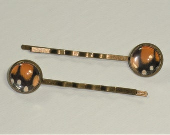 Real Monarch Butterfly Wing Hair Bobby Pins Set of 2 Antique Bronze Jewelry