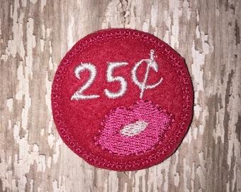 Set of 4 Pink Red 25 cent Kisses kiss lips Glitter Valentines Valentine Valentine's Day Feltie Felt Embellishment Bow!