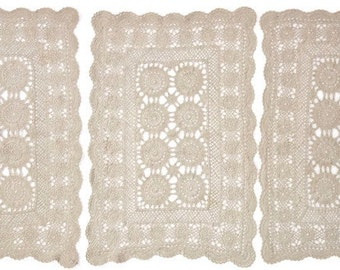 Antique Vintage Victorian Hand Crocheted Cotton Place Mats Soft Taupe 1905 Lot Set of 6 Six