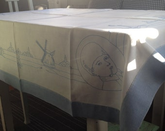 Tablecloth vintage, windmill decoration, light blue-white from the 70s