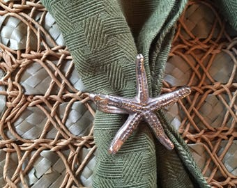 SALE!! Twelve Beach Napkin Holders/Rings, Silver Plated, Starfish and Seashell Set of 12, Nautical Cottage